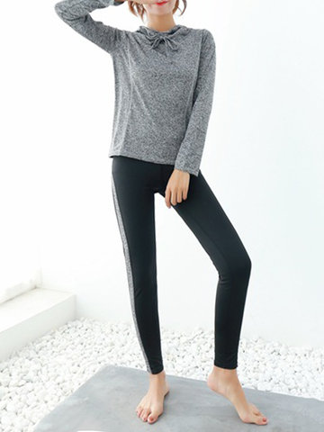 Hooded Long Sleeved Shirt And Patchwork Pants Tracksuit