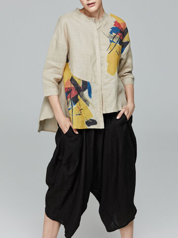 Miting Women Printed O-Neck Half Sleeve Button Fly Blouses
