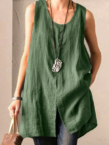 Irregular Split Sleeveless Tank Top