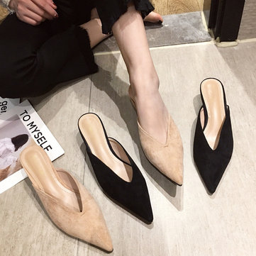 Season New Fashion Wild Baotou Half Slippers With Stiletto Women's Sandals And Slippers