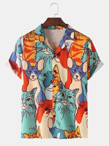 Multi-Color Cat Print Casual Shirts