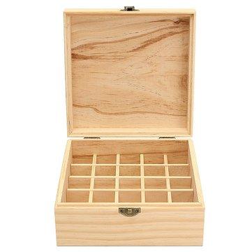 Caja de almacenamiento de madera de aceite esencial - Classic Aromatherapy 25 Slot Wood Organizer