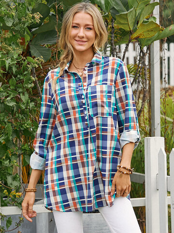 Colorful Plaid Print Casual Blouse