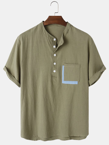 Cotton Solid Color Henley Shirts