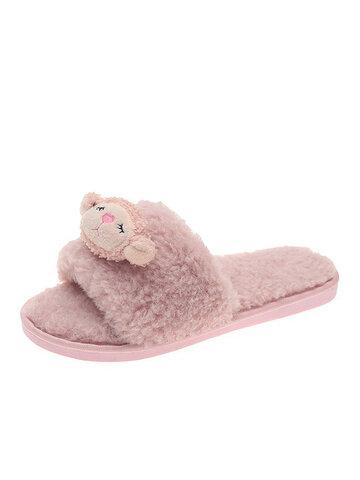 Plush Opened Toe Sling Back Home Slippers