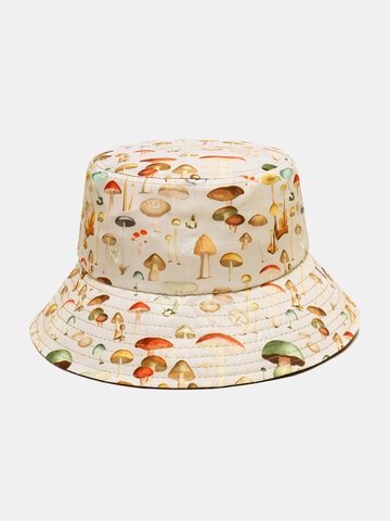 Collrown Women & Men Mushroom Pattern Print Bucket Hat