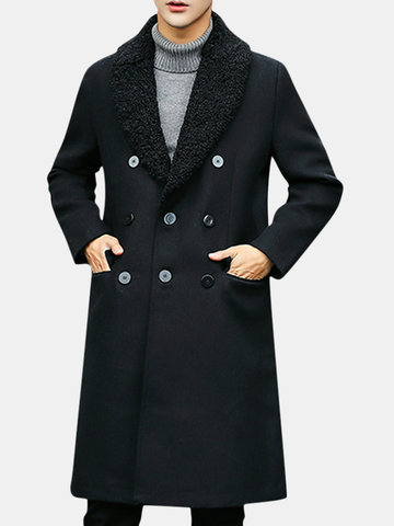 Men Lapel Collar Woolen Coat