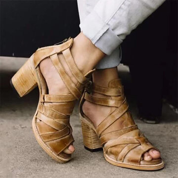 Zipper Chunky High Heel Sandals