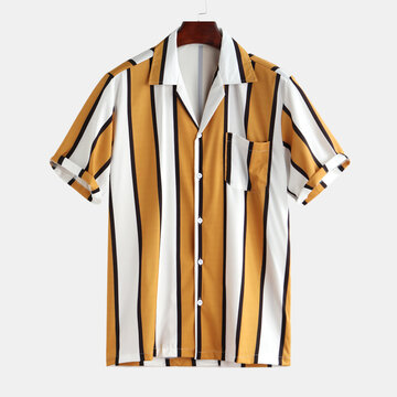 Mens Casual Striped Loose Shirt