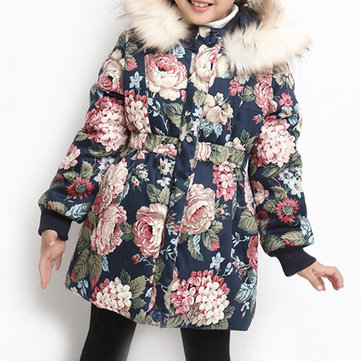 Floral Girls Thick Coat With Fur For 4Y-15Y