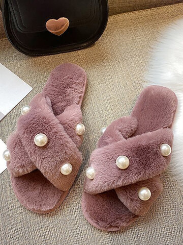 Pearl Inlay Warm Winter Plush Slippers