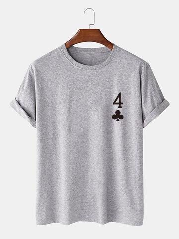 Poker Plum Blossom 4 Print T-Shirts
