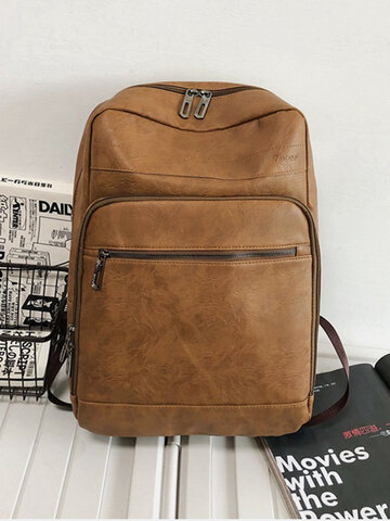 Faux Leather High Capacity Backpack