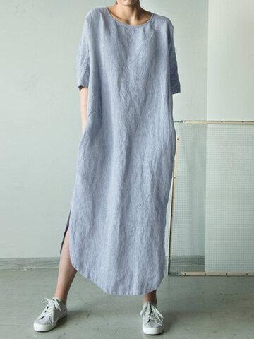 Solid Color Half Sleeve Maxi Dress