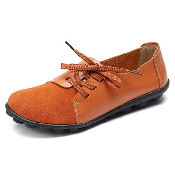 Casual Soft Splicing Leather Flats Chaussures