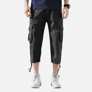 Mens Retro Loose Cropped Cargo Pants