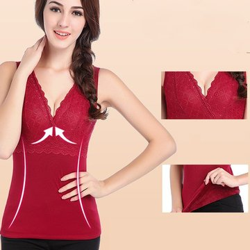 Sexy Lace-trim V Neck Breathable Vest Thicken Keep Warm Shapewear For Women, Black wine red