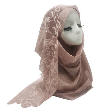 New Season Thin Section Linen Leaves Pattern Lace Ladies Scarf Muslim Bag Scarf 11 Colors