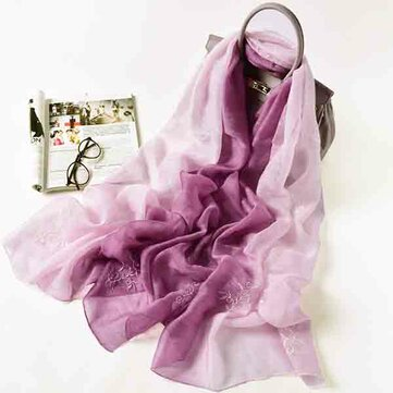 LYZA Women Vintage Gradient Color Embroider Silk  Scarves Comfortable Skin-friendly Scarves