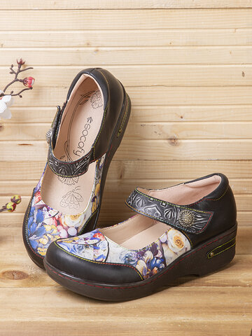 SOCOFY Retro Blooming Colored Flowers Embossed Genuine Leather Platform Shoes