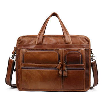 Men Genuine Leather Briefcase Business Laptop Bag