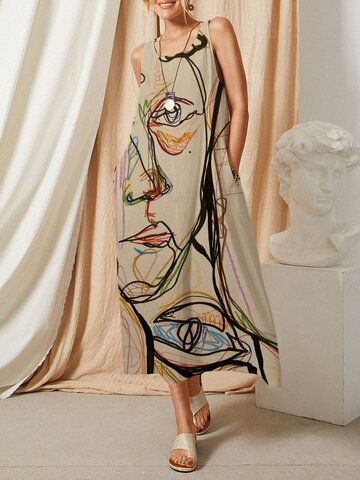 Graffiti Abstract Pattern Pocket Dress