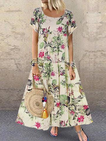Vintage Print Floral Kleid