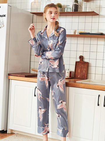Silk Birds Print Long Pajamas Suits