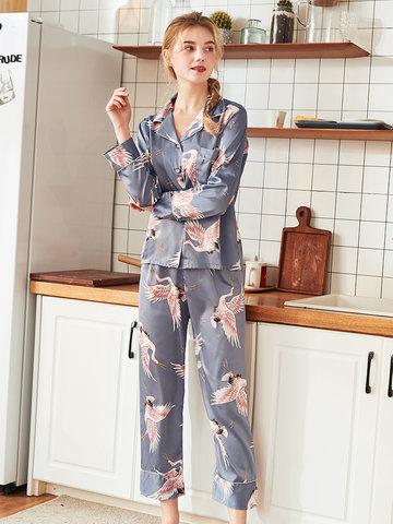 Seide Vögel drucken lange Pyjamas Anzüge