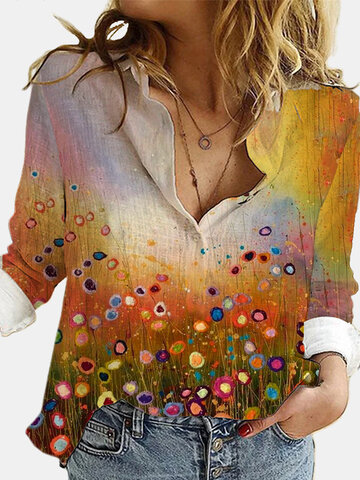 Landscape Printed Long Sleeve Blouse
