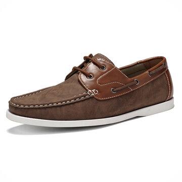 Menico Men Retro Leather Non Slip Boat Shoes