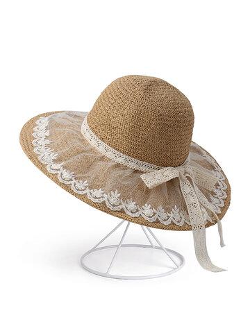 Foldable Bow Sunscreen Bucket Straw Hat
