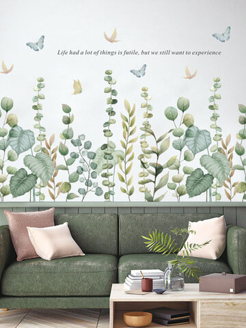 Green Leaves Butterfly Wall Stickers for Living room Bedroom Eco-friendly Vinyl Wall Decals Art DIY Home Decor Stickers for Wall