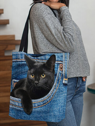 Felt Cat Handbag Shoulder Bag Tote