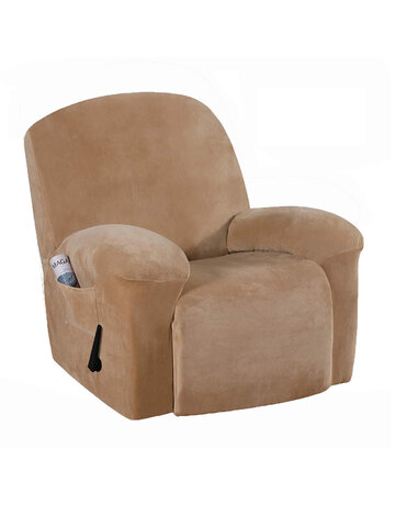 <US Instock> Velvet Soft Stretch Recliner Chair Cover Slipcover Full Coverage Protector With Pockets Dustproof Waterproof Sofa Covers