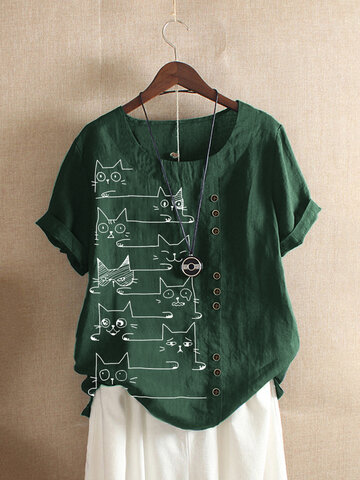 Cat Printed Cartoon Button T-shirt
