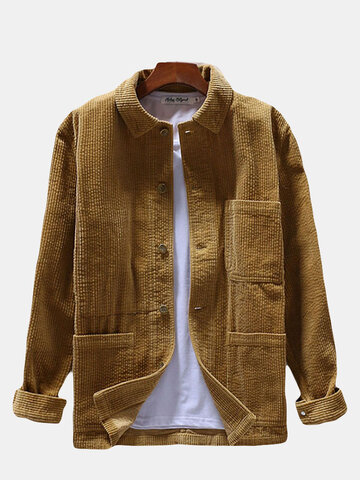 Vintage Turn Down Collar Corduroy Shirt
