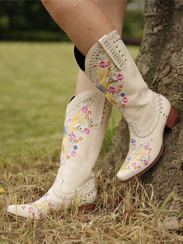 Flowers Embroidered Slip On Cowboy Boots