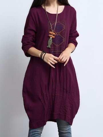 Pleated Ethnic Printed Vintage Women Dresses