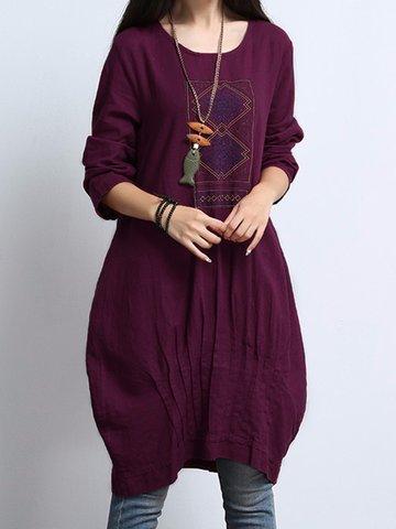 Vestidos plissados étnicos de mulheres vintage impressas