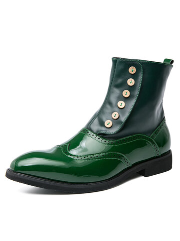 Men British Style Brogue Pointed Toe Dress Boots