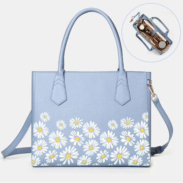 Women Daisy Multifunction Multi-pocket 13.3 Inch Laptop Key Handbag Shoulder Bag
