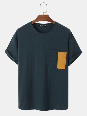 100% Cotton Pocket Casual T-Shirt