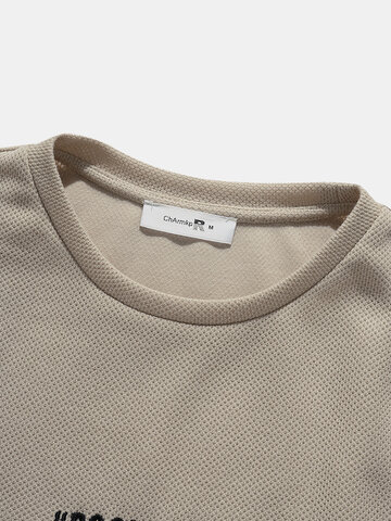 Panel Letter Embroidery Knit T-Shirts