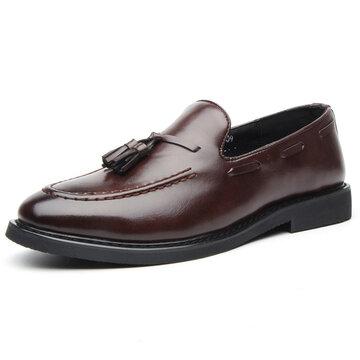 الرجال غير زلة أحذية جلدية شرابة