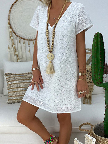 Bohemian Lace Hollow V-neck Dress