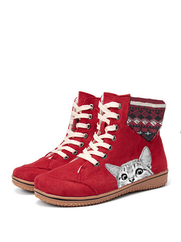 Cat Printing Christamas Flat Short Boots
