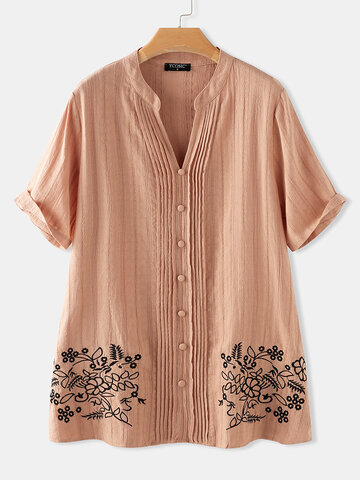 Embroidery Striped V-neck Short Sleeve Button Pleated Blouse