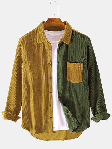 Corduroy Designed Patchwork Shirts