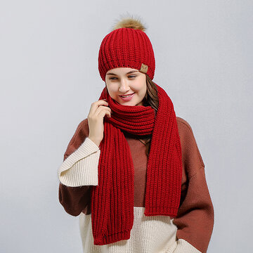 Christmas Knitted Hat Scarves Set